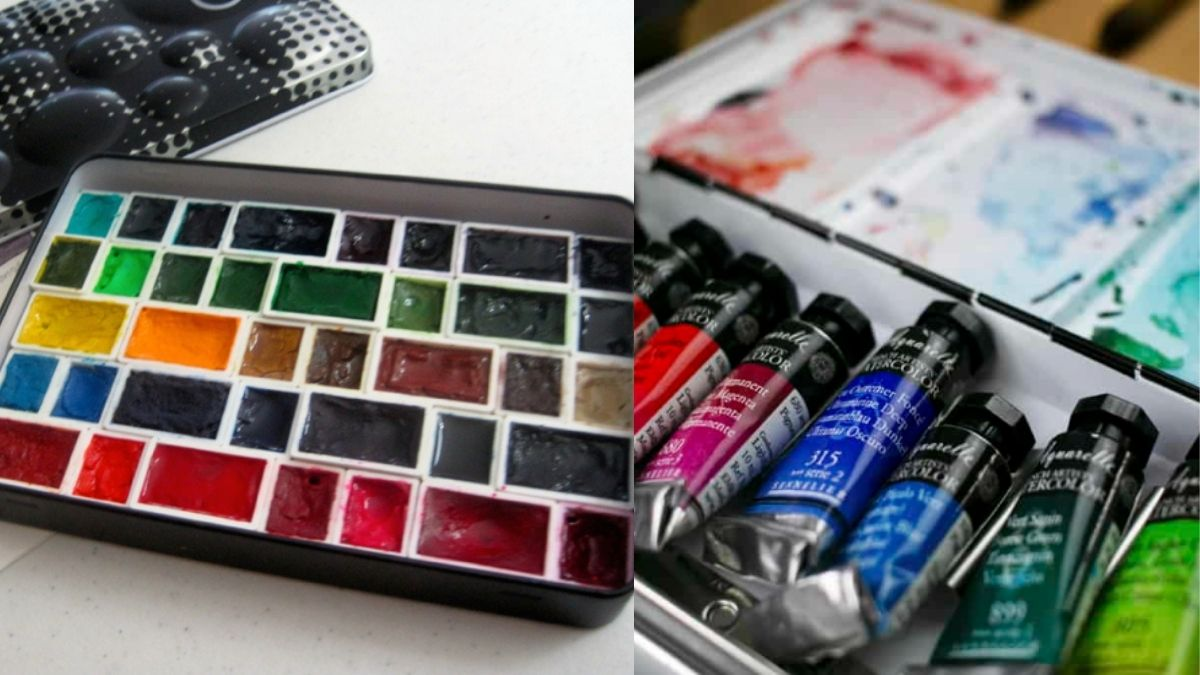 On the left; watercolor pans or watercolor cakes on a white table. On the right: a closeup shot of watercolor tubes in a box.