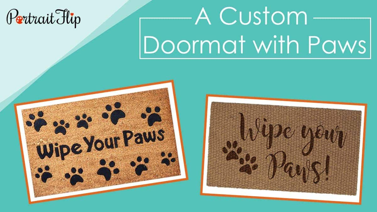 A custom doormat with paws