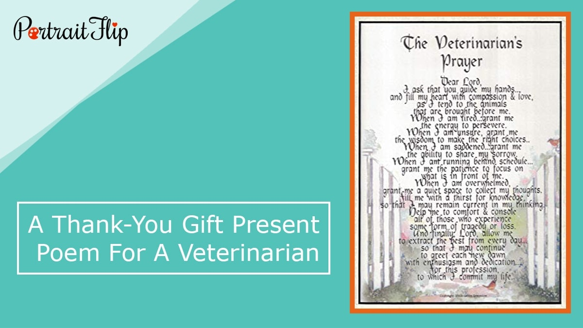 A thank you gift present poem for a veterinarian