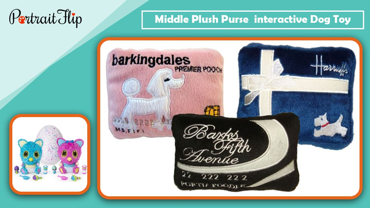 Middle plush purse toy interactive dog toy