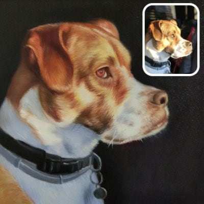 Pet dog oil painting